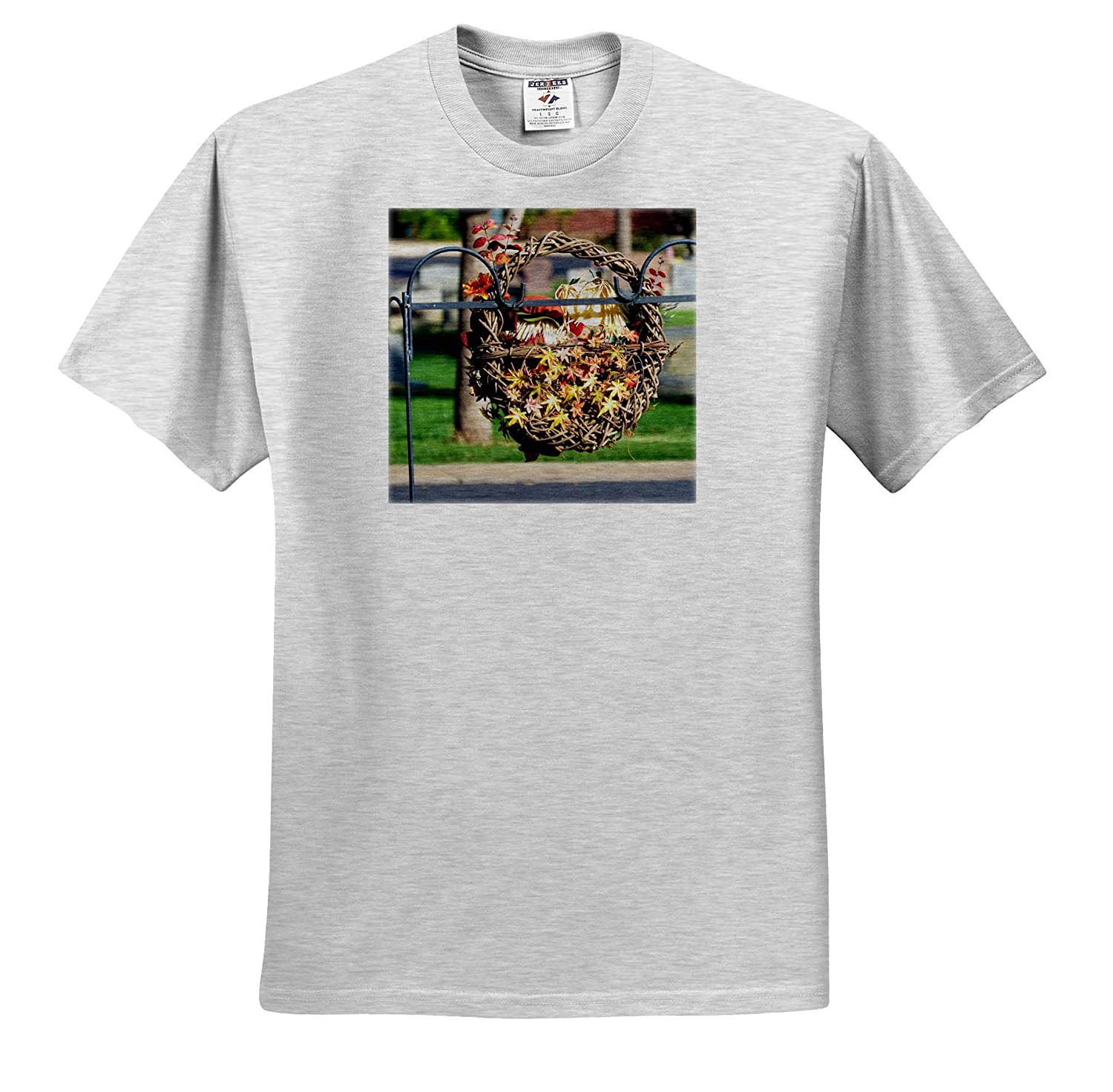ts/_317886 Adult T-Shirt XL 3dRose Jos Fauxtographee- Harvest A Fall Basket Hanging on a Post at a cemetary