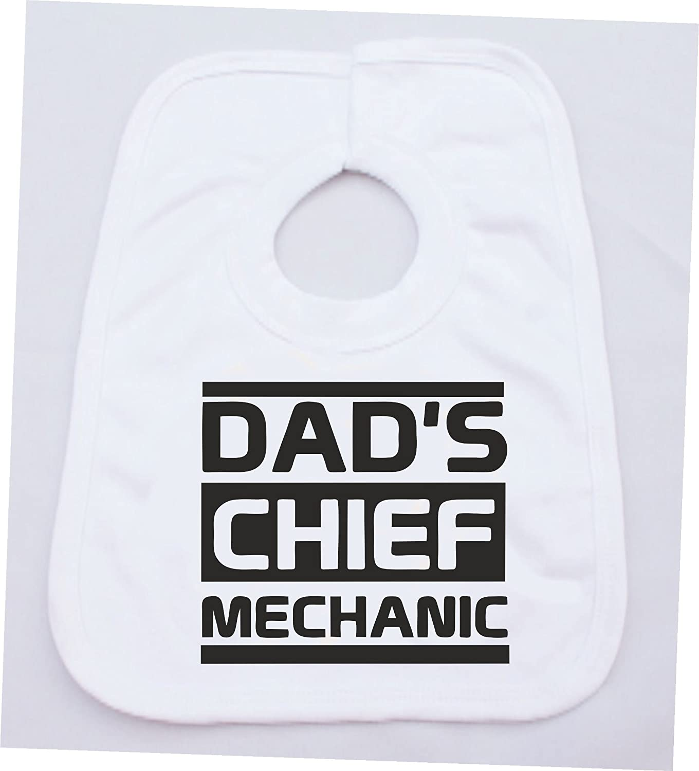 DADS CHIEF MECHANIC FUNNY COTTON WHITE BABY VEST OR BIB