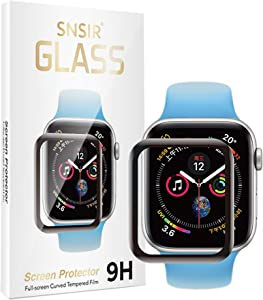 SNSIR Screen Protector 44mm for Apple watch Series 6/SE Series 5/4 [2 Pack] [Tempered Glass] Full Coverage Protective Foil 9H 2.5D (Black 44mm)