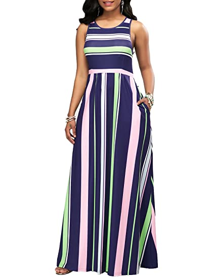 Malluo Women S Casual Floor Length Beach Maxi Dresses With Pockets