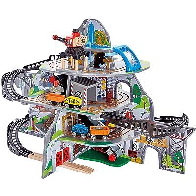 Hape Kids Wooden Railway Mighty Mountain Mine Set: Toys & Games