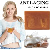 Organic Handmade Face Soap Anti-Aging Face Wash Bar Soap Containing Anti Wrinkle Ginseng Extract with a Foaming Net To Create a Luxurious Lather For Men Women