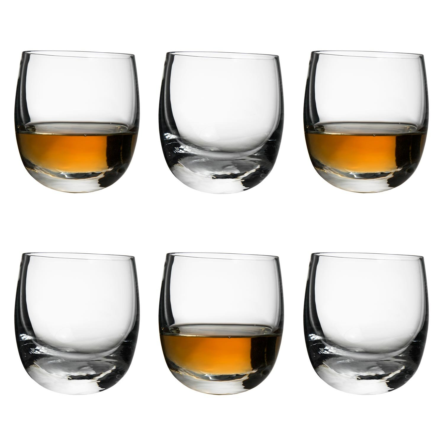 Sagaform Rocking Whiskey Glasses Set of 6 in a gift box Round Base Whisky Glass