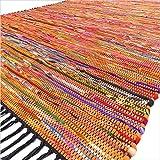 Eyes of India - 4 X 6 ft Orange Woven Decorative Chindi Area Rag Rug Indian Bohemian Boho