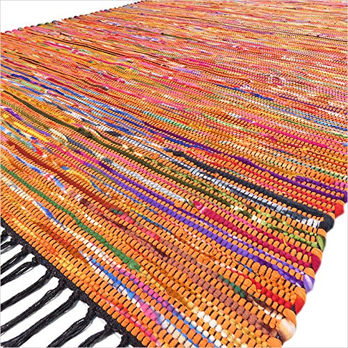 Eyes of India – 3 X 5 ft Orange Colorful Woven Chindi Rag Rug Bohemian Indian Boho Decorative Review