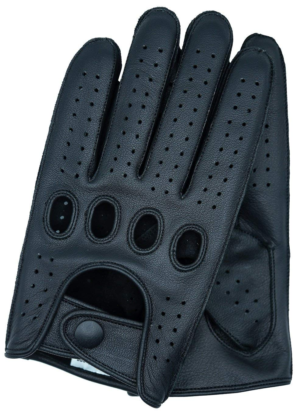 Black//Red, Small Men Genuine Leather Driving Texting Touch Screen Unlined Knuckle Holes Gloves