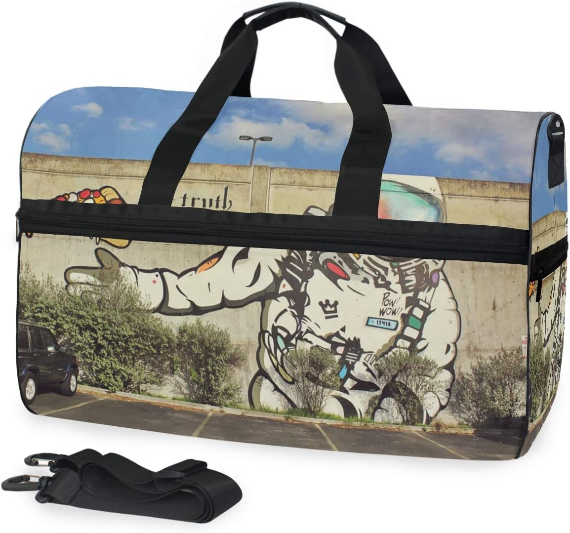 MUOOUM Cool Astronaut Pizza Large Duffle Bags Sports Gym Bag with Shoes Compartment for Men and Women