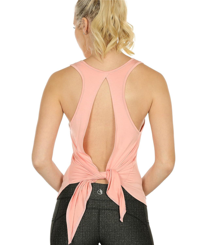 icyzone Camiseta Deportiva sin Mangas de Espalda Abierta para Mujer