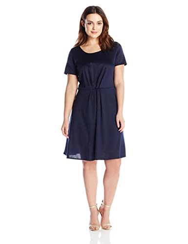 Star Vixen Women's Plus-Size Short Sleeve Starburst-Cinch Pleat Ponte Skater Dress