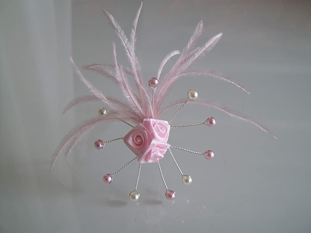 Fleur Pic Rose clair pâle poudre tendre Bijoux Epingle