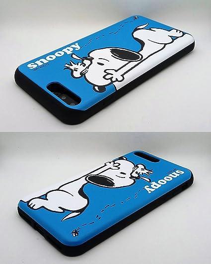 [iPhone 7 Plus Coque/iPhone 8 Plus Coque] Kubrick Peanuts Snoopy Slide Bumper téléphone Coque double couche carte pour portefeuille