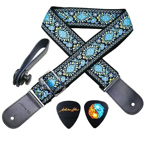 MOREYES Correa de guitarra Correas de piel auténtica Jacquard Weave Correa para bajos, guitarras eléctricas