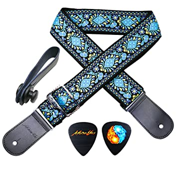 MOREYES Correa de guitarra Correas de piel auténtica Jacquard Weave Correa para bajos, guitarras eléctricas y acústicas (azul): Amazon.es: Instrumentos ...