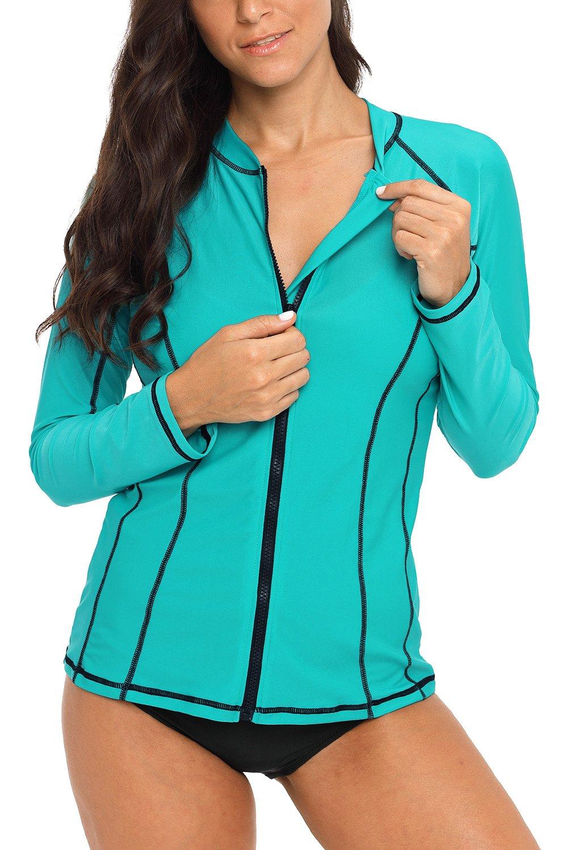 Charmo Women Zip Long Sleeve Rash Vest Sports Rash Guard Shirts Swim Tops Swimsuit