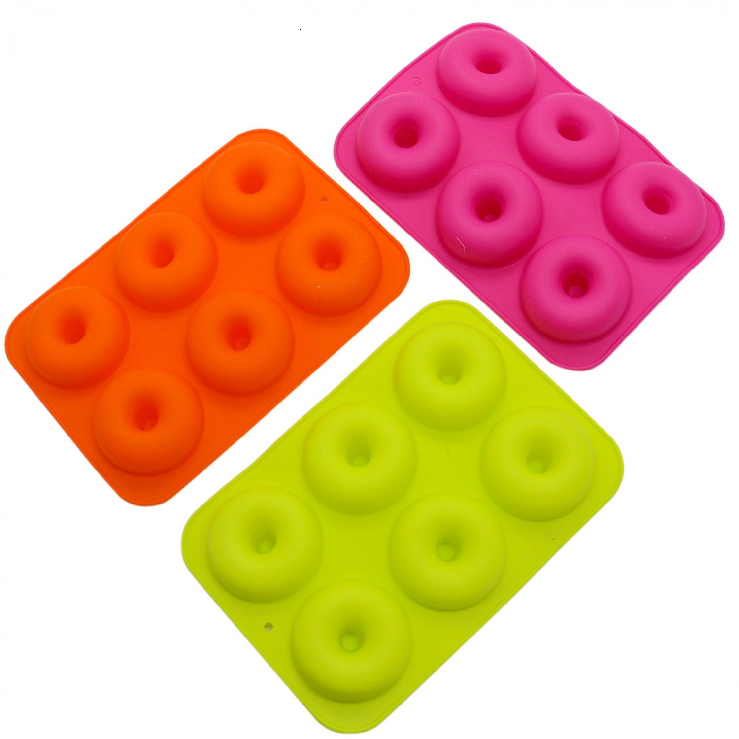 IDS Pack of 3 Silicone Donut Molds, 6 Cavity Non-Stick Safe Baking Tray Maker Pan Heat Resistance for Cake Biscuit Bagels