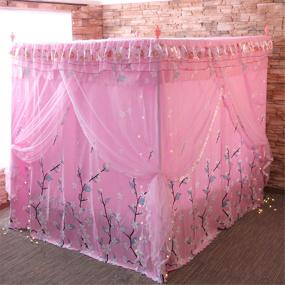 Mosquito net Double Bed on Bedroom Insect-Proof Children's Gauze Princess Wind Floor Hanging Home Summer Decoration Tent, Pink, 2.0M by Lostryy-Mosquito Nets Baby (Image #3)