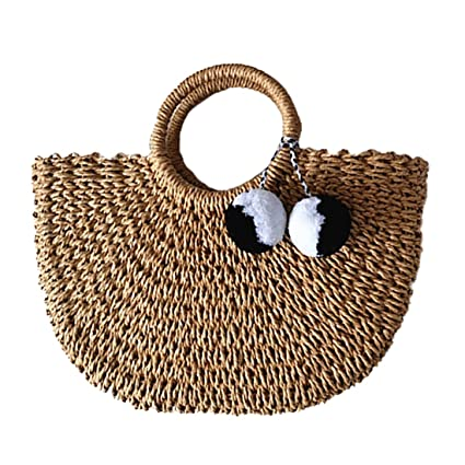 Hand Woven Straw Large Hobo Bag For Women Round Handle Ring Toto Retro Summer Beach by E Fly