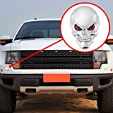 3D Chrome Skull Red Eyes Metal Decal Emblem Sticker