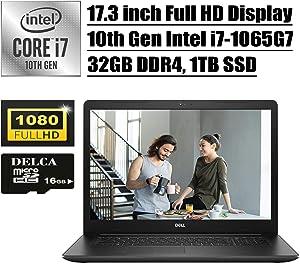 Dell Inspiron 17 3000 3793 Premium 2020 Business Laptop I 17.3 inch Full HD Display I 10th Gen Intel Quad-Core i7-1065G7 I 32GB DDR4 1TB SSD I WiFi HDMI Win 10 + Delca 16GB Micro SD Card