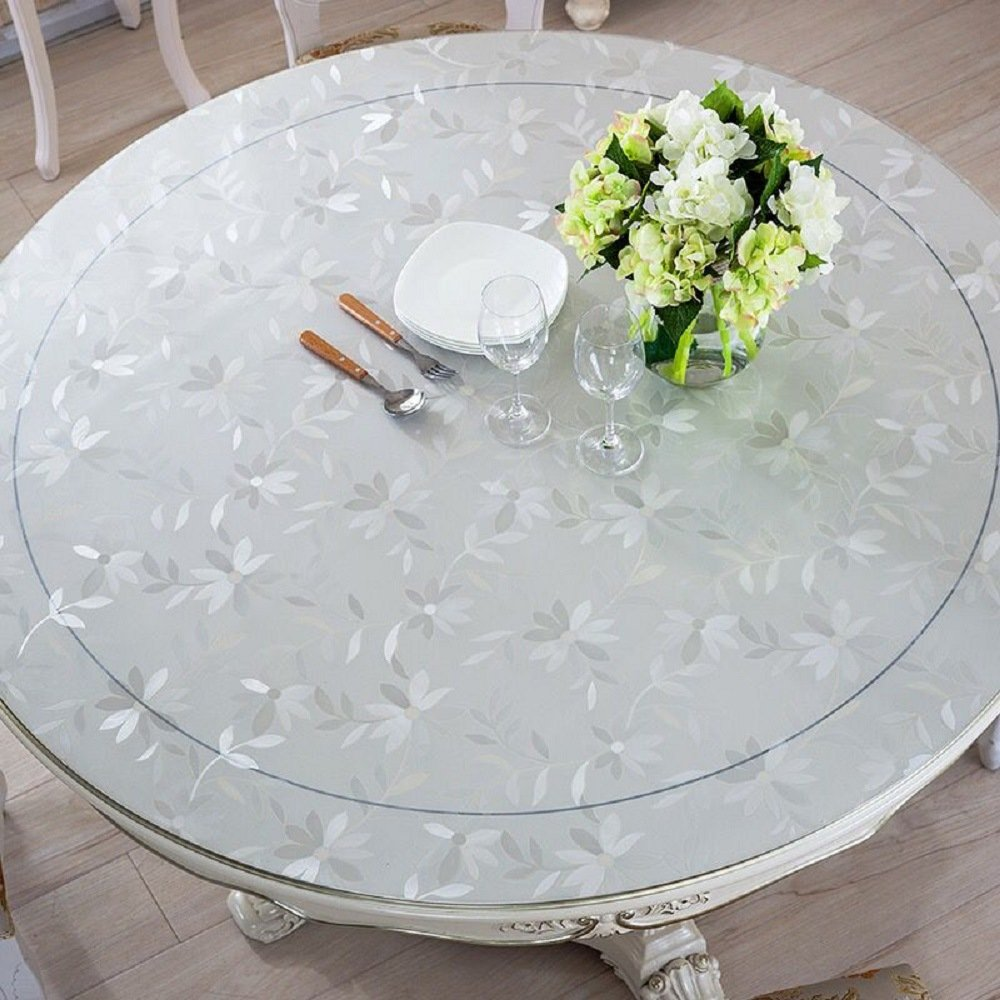 LovePads Multi Size Custom Round 2mm Thick Cosmos PVC Table Protector Cover Tablecloth 60 Inches (Dia. 152.4cm) by DiscoverDecor (Image #2)