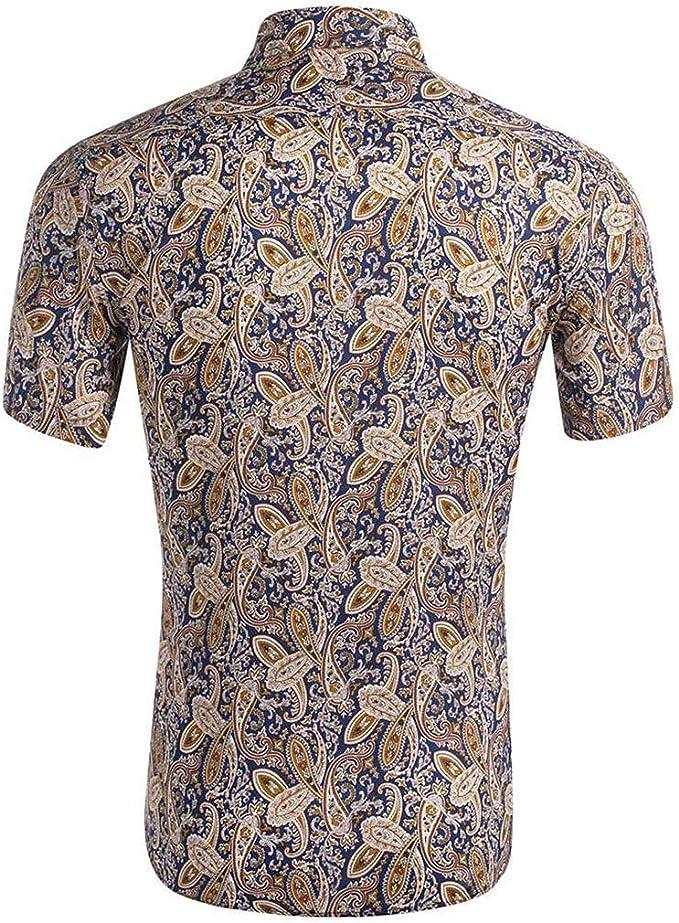 Camisa Hawaiana para Hombre, Camiseta de Surf con Flores y Hojas de Aloha para la Playa, Casual, de Manga Corta, con Botones - Multi Color - Large: Amazon.es: Ropa y accesorios