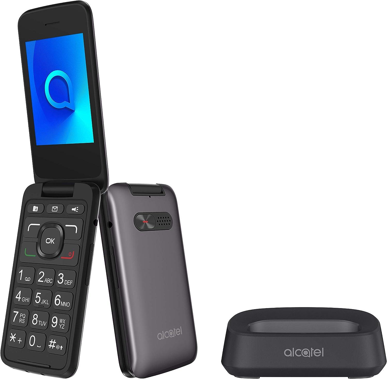 Alcatel 3026 - Teléfono móvil de fácil uso con tapa y base para cargar - botón SOS - Cámara 2MP con flash - teclas grandes - Gris metálico