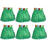 """Mydio 6 Pack 15"""" Kid's Green Flower Hula Grass Skirt,Pack of 6"""