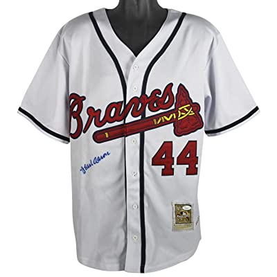 wholesale dealer ebca5 94a12 Braves Hank Aaron Signed White Mitchell & Ness Jersey ...
