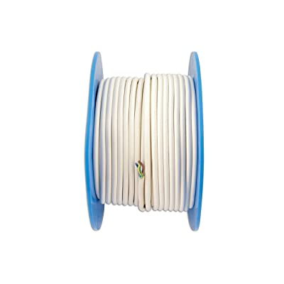 Connect 30674 50m 10A PVC 3 Core Mains Cable - White: Automotive