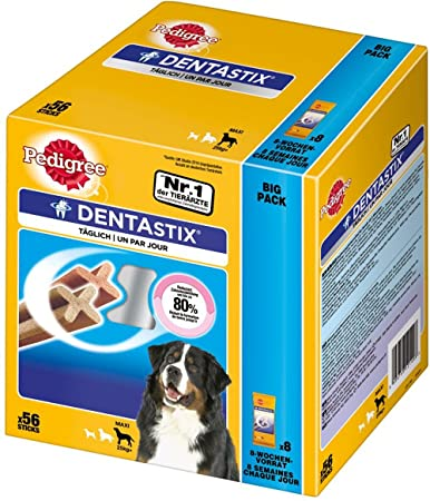 Pedigree Hundesnacks Hundeleckerli Dentastix Maxi Tägliche Zahnpflege für große Hunde >25kg, 56 Sticks (2160g)
