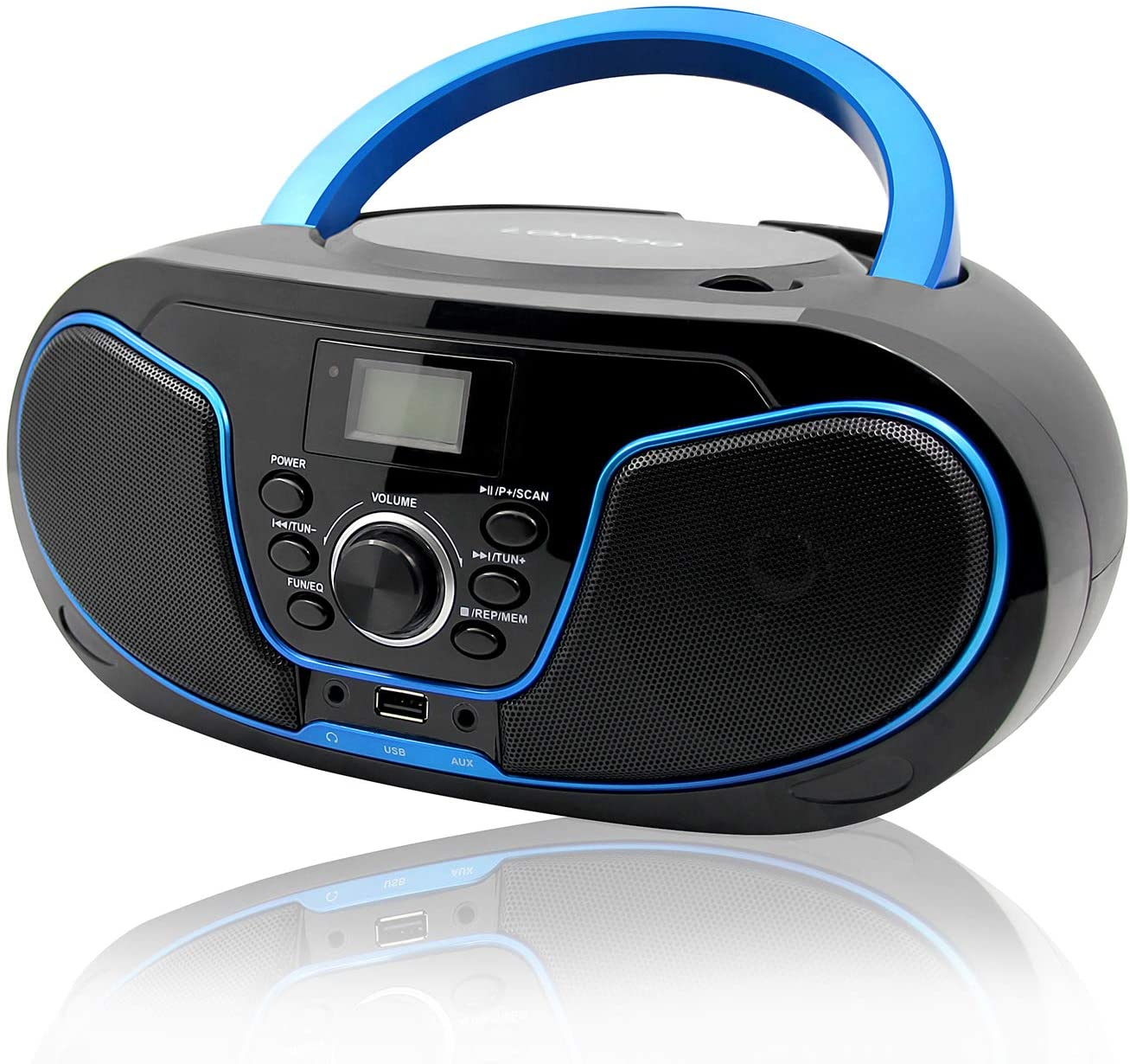 LONPOO Portátil Bluetooth Reproductor de CD Boombox 4W (FM Radio, Reproductor de CD / MP3, USB2.0, AUX-IN, Bluetooth4.0)