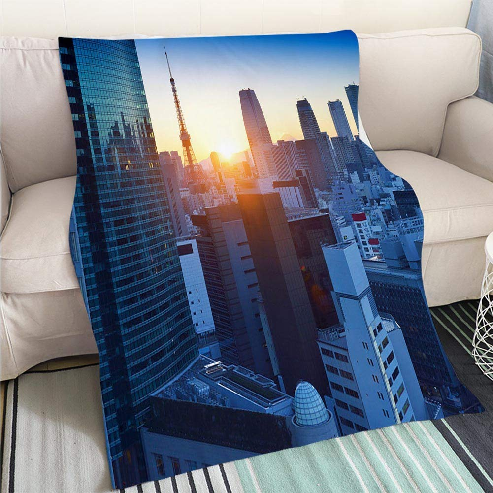 color7 47 x 80in Comforter Multicolor Bed or Couch Tokyo Sunset Aerial Panoramic View Perfect for Couch Sofa or Bed Cool Quilt