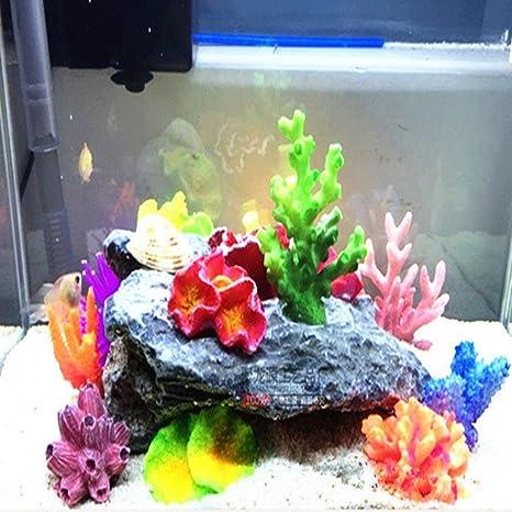 Hunpta Acuario pecera Tank Simulación Mini Coral Sea Star Multicolor Planta Traje (A)