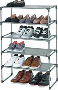 Smart Design Shoe Rack Shelf - Stackable - Laminated Liner - Steel Metal Frame - 5-Tier Holds 15 Pairs - Entryway, Closet, Garage - Home Organization