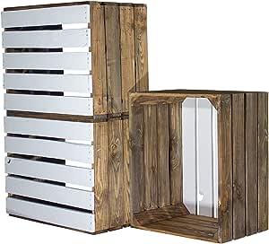 6 Used manzana Cajas – gefla Naturaleza imitación – Blanco suelo 50 x 40 x 30 cm – Caja rústica de madera como estante de pared Estantería de cocina baño Estantería para