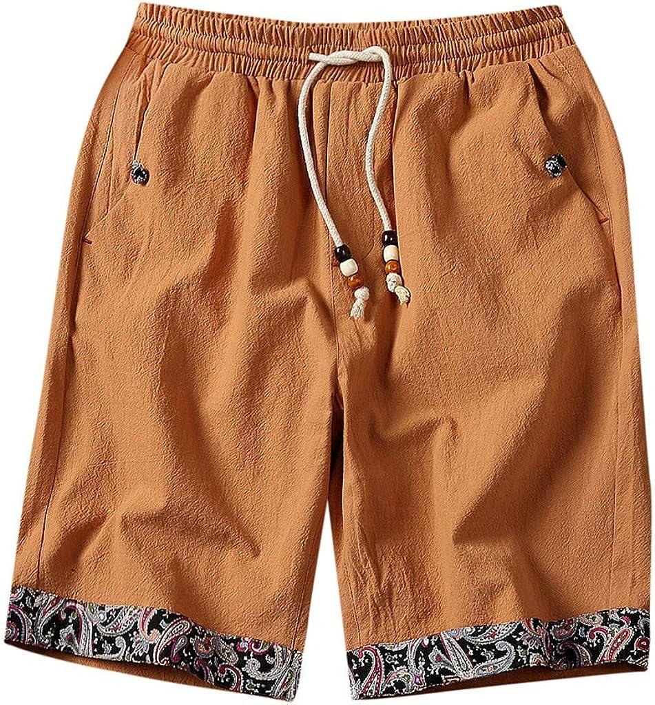 ZEFOTIM Shorts for Men 2019 Fashion Summer Casual Print Pocket Drawstring Cotton Linen Short Pants