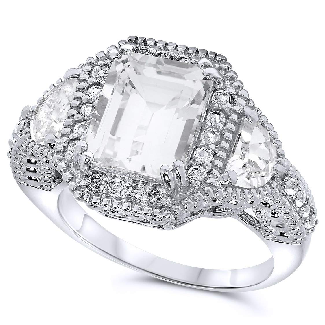 .925 Sterling Silver Lab Created White Sapphire Three Stone Ring