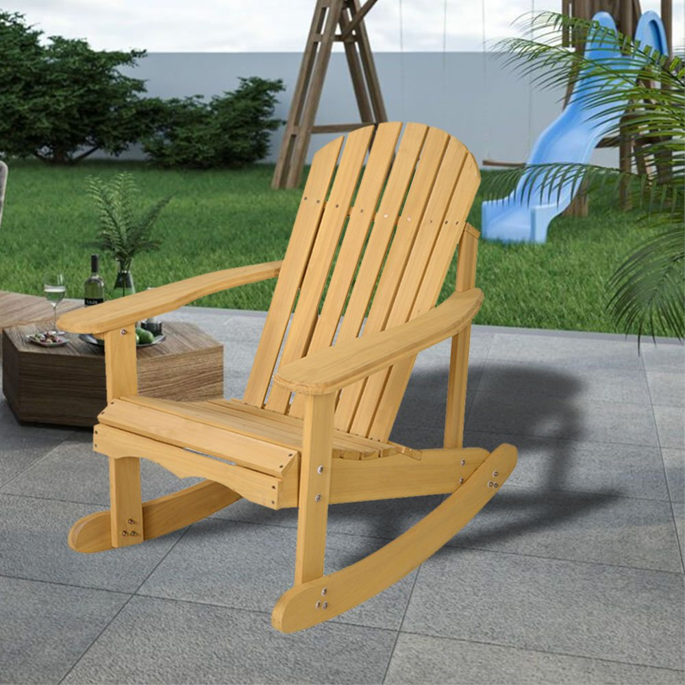 Unfinished wood rocking chair natural fir wood beautiful and durable adirondack patio deck garden furniture will hold up to the abuses of being used outside