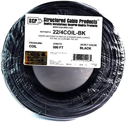 Alarm Wire 22 Gauge 100/' 4 Conductor Solid Copper Cable Black UL Listed
