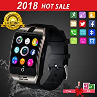 Smart Watch for Android Phones, Bluetooth Smartwatch Touchscreen with Camera, Unlocked Smart Watches with SIM Card Slot, Waterproof Smart Wrist Watch Phone for Women Man Kids Samsung (Black)