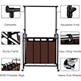 BBSHOPING 8879541 Mobile 4 Laundry Sorter Cart with Adjustable Hanging Bar, Heavy-Duty Wheels with Large Bags, Brown