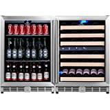 KingsBottle 3-Zone Wine and Beverage Combo Refrigerator, Holds 160 Cans and 46 Bottles, Stainless Steel with Glass Door