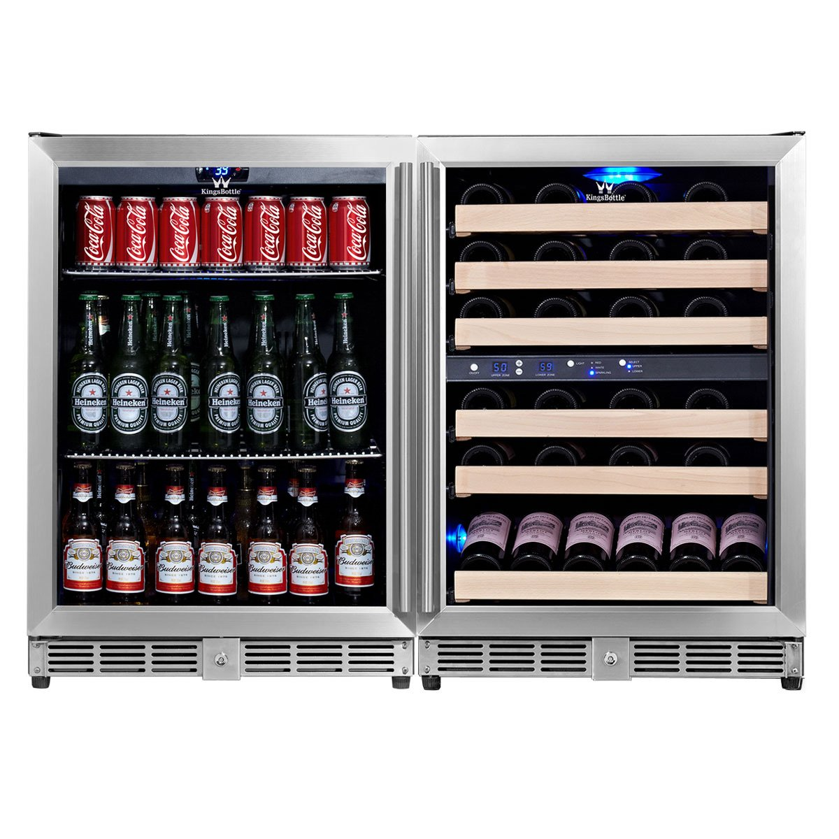 KingsBottle 3-Zone Wine and Beverage Combo Refrigerator, Holds 160 Cans and 46 Bottles, Stainless Steel with Glass Door by KingsBottle