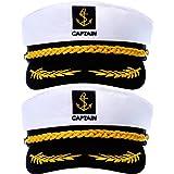 2 Pieces Yacht Captain Hat Sailor Ship Cap Boat Navy Hat for Adult Kid Men Women