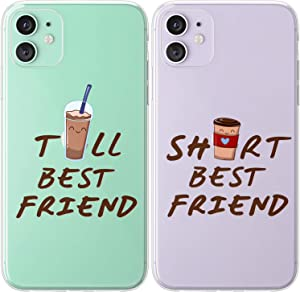 Mertak TPU Couple Cases for Apple iPhone 11 Pro Max Xs Xr X 10 8 Plus 7 6s SE 5s Friendship Gift Tall Short Design Cute Cover Silicone Clear Print Slim Girly Coffee Anniversary Funny Best Friend