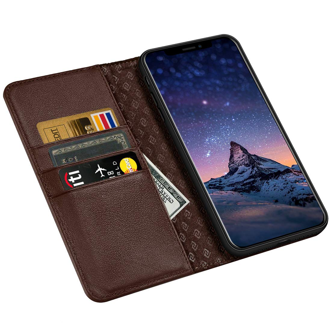 dc50b1633703 ZOVRE Compatible with iPhone XS X Wallet Case Genuine Leather Flip Folio  Book Case with Card Holder and Magnetic Closure Dark Brown
