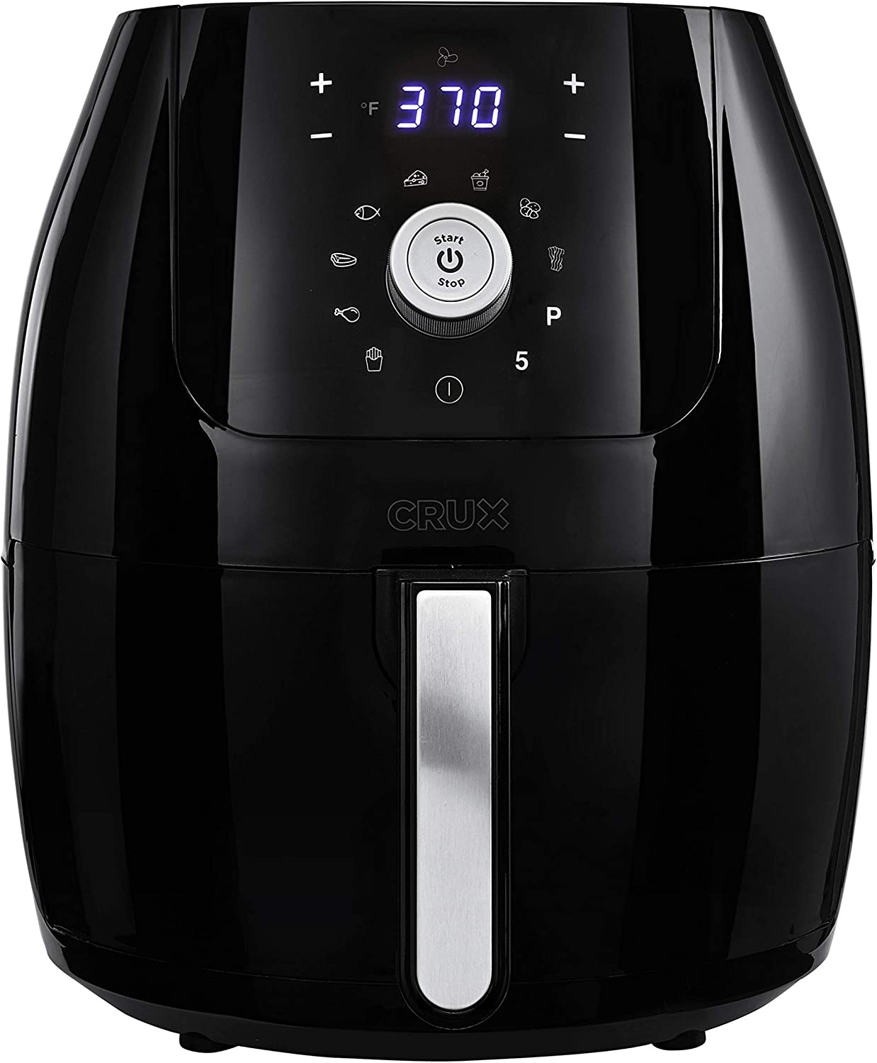 CRUX 6QT Digital Air Fryer, Healthy No-Oil Air Frying & Cooking, Hassle-Free Temperature and Timer Control, Easy to Clean with Removeable Dishwasher Safe Pan and Crisping Tray, Black (Renewed)