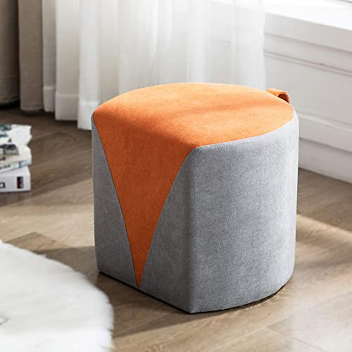 Artechworks Round Semi Circle Ottoman Upholstered Small Modern Stool Footstool Foot Rest Ottoman for Living Room Bedroom, Home, Office, Business, Grey and Orange