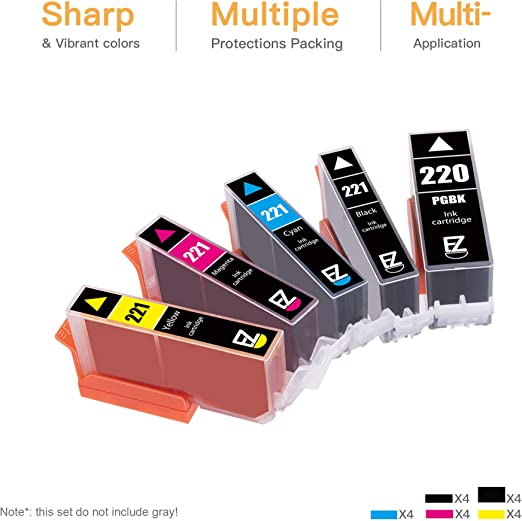 PGI220 CLI221 Compatible Ink Cartridge EP Chip PIXMA MP620 MP980 IP3600 IP4600 Printer Ink Cartridge 1 Set of 6 Colors-1setof12colors
