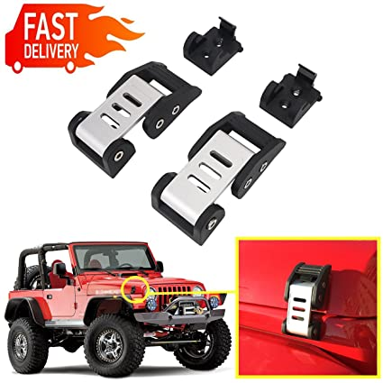 buyinhouse 1 Pair Hood Lock Latches Catch Locking Kit for Jeep Wrangler JK 2007-2017 Black